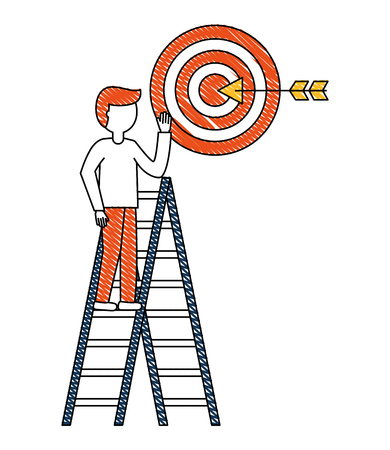 man in construction ladder with target arrow success vector illustration design Illustration