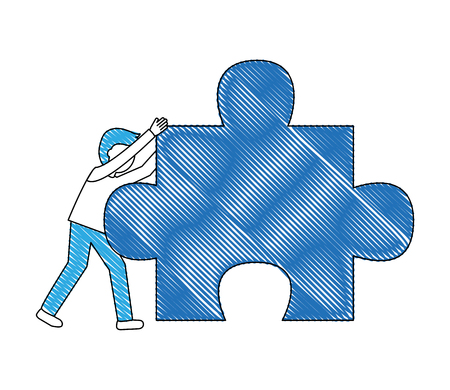 young man with puzzle piece isolated icon vector illustration design Stok Fotoğraf - 103035341