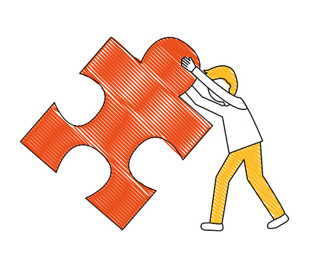 young man with puzzle piece isolated icon vector illustration design