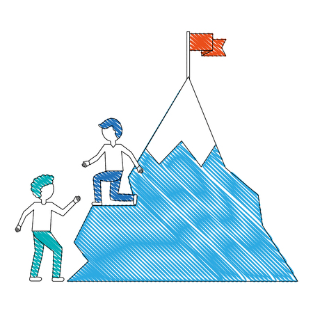 young men with snowy mountain with flag isolated icon vector illustration design