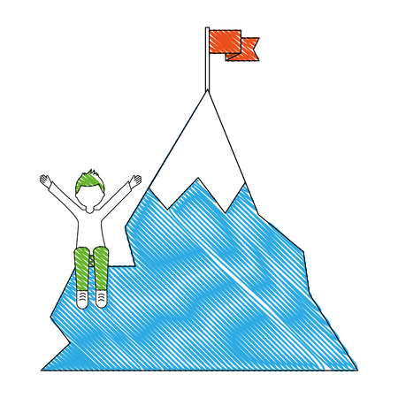 young man with snowy mountain with flag isolated icon vector illustration design