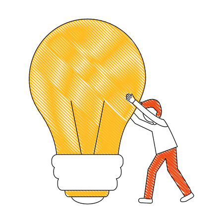 young man with light bulb isolated icon vector illustration design Illustration