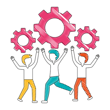 young men with gears machine isolated icon vector illustration design