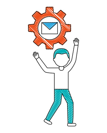 young man with gear and envelope isolated icon vector illustration design