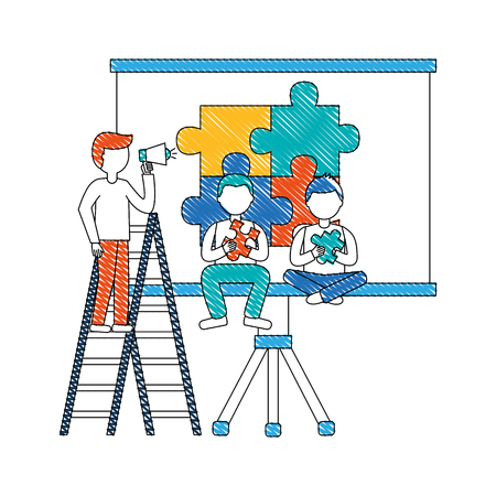 young men with paperboard training and puzzle pieces vector illustration design