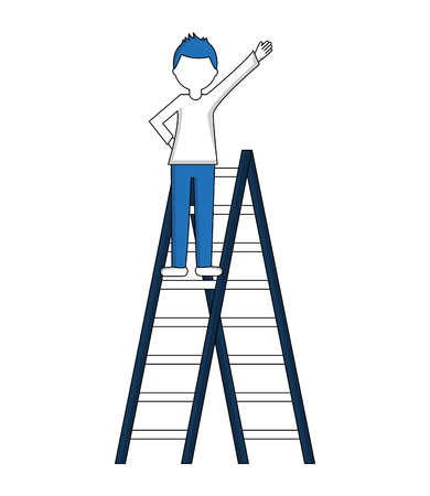 man with construction ladder isolated icon vector illustration design