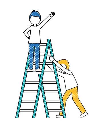 Jeunes hommes avec échelle de construction icône isolé vector illustration design