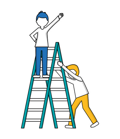 young men with construction ladder isolated icon vector illustration design