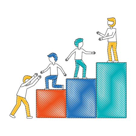 work team going up to the top isolated icon vector illustration design