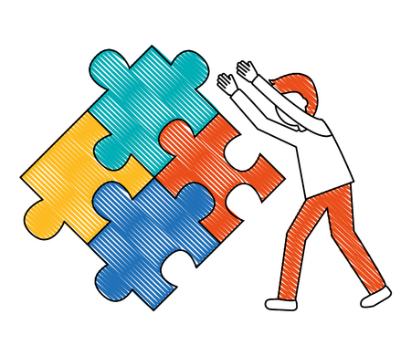 young man with puzzle pieces isolated icon vector illustration design Illustration