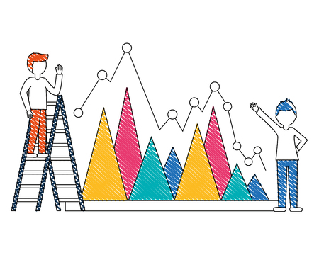 statistical graphics with young people and construction ladder vector illustration design Çizim