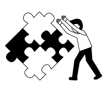 businessman pushing jigsaw puzzle inspiration vector illustration