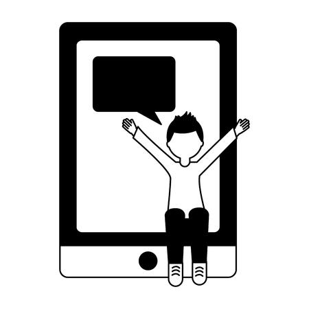 man sitting on smartphone speech bubble chat vector illustration