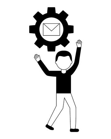 businessman gear work email communication vector illustration