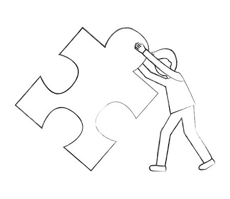 businessman pushing puzzle piece work vector illustration sketch
