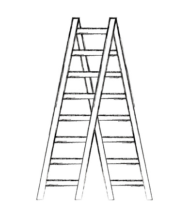 wooden stair tool object image vector illustration sketch