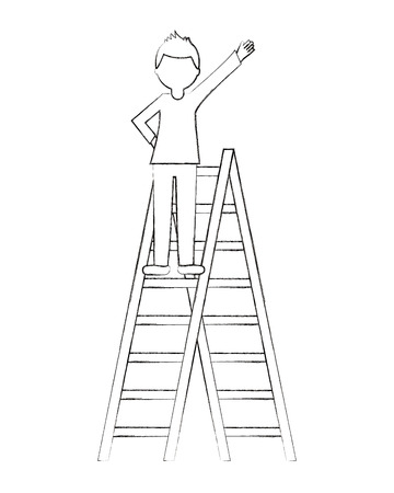 businessman on top stairs excited celebrating vector illustration sketch