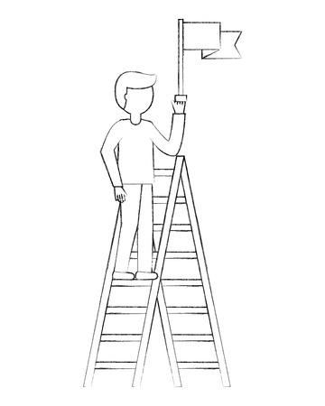 businessman triumph on top ladder with flag vector illustration sketch