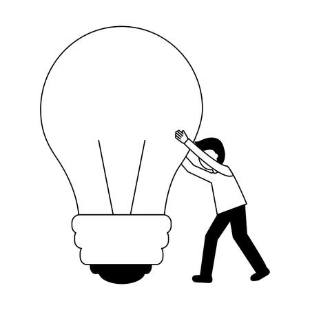businessman pushing bulb idea creativity vector illustration