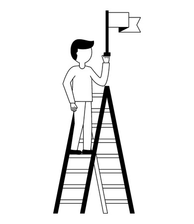 businessman triumph on top ladder with flag vector illustration