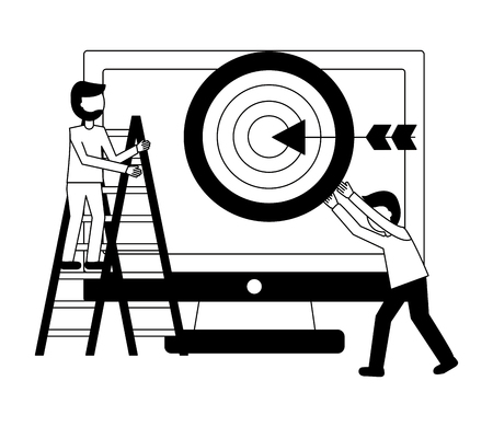 businesspeople work teamwork computer target vector illustration
