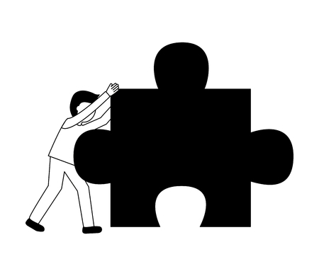businessman pushing puzzle piece work vector illustration