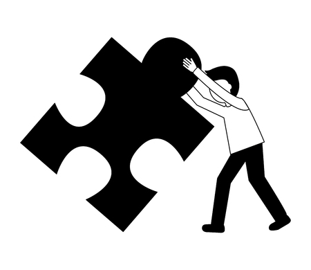businessman pushing puzzle piece work vector illustration