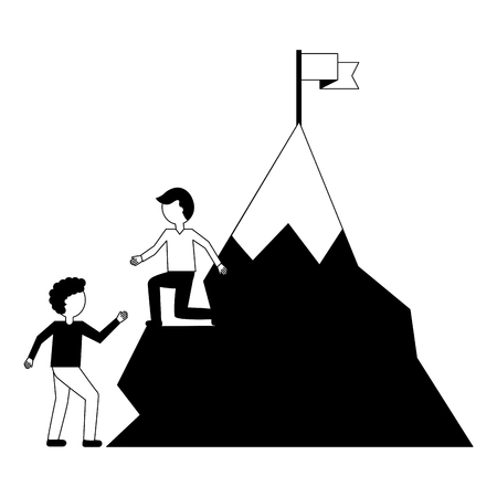 businessman helping colleague climbing mountain successful vector illustration