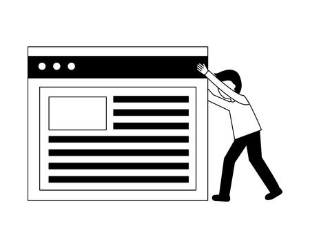 businessman pushing web page work vector illustration