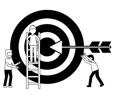 business man on stairs and men target arrow vector illustration