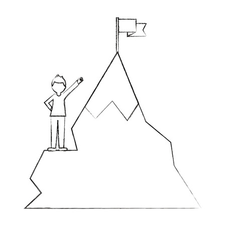 businessman success and mountain with flag in top vector illustration sketch