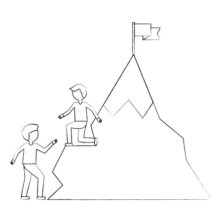 businessman helping colleague climbing mountain successful vector illustration sketch