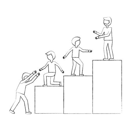 business people teamwork climbing top ladder vector illustration sketch
