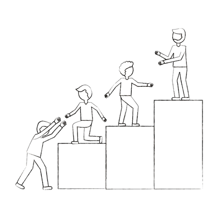 business people teamwork climbing top ladder vector illustration sketch