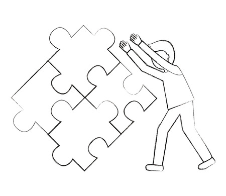 businessman pushing jigsaw puzzle inspiration vector illustration sketch Иллюстрация