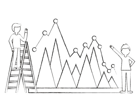 businessma on stairs and colleague with statistic diagram chart vector illustration sketch Иллюстрация
