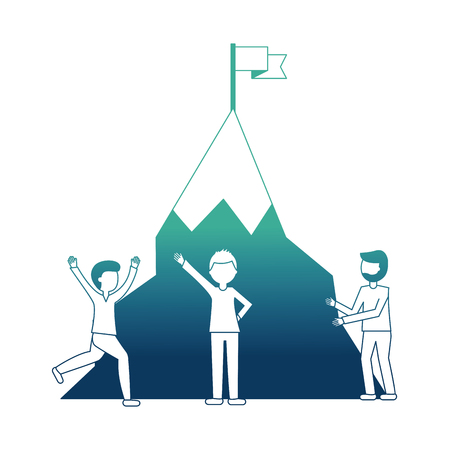 young men with snowy mountain with flag isolated icon vector illustration design Imagens - 103035476