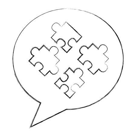 speech bubble and jigsaw puzzle solution vector illustration sketch