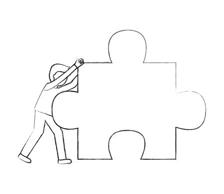 businessman pushing puzzle piece work vector illustration sketch