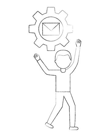 businessman gear work email communication vector illustration sketch Illustration