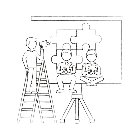 business people with megaphone and puzzle teamwork vector illustration sketch
