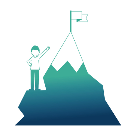 businessman success and mountain with flag in top vector illustration neon design Çizim
