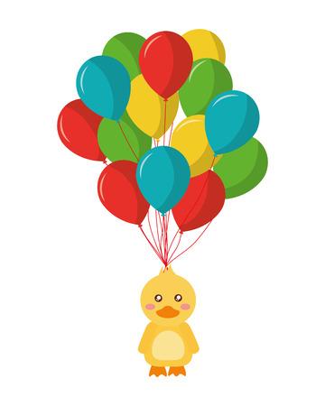balloons helium with cute duck icon vector illustration design Standard-Bild - 103056336
