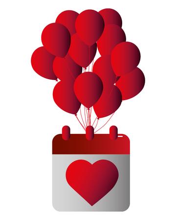 balloons helium with calendar vector illustration design