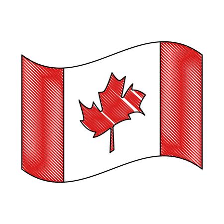 Canadiense bandera nacional icono vector ilustración esquema Foto de archivo - 103056440