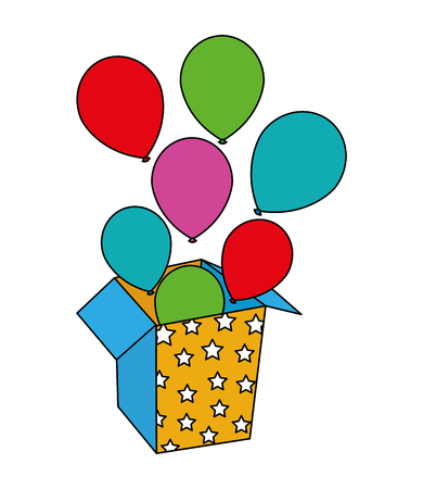 colored balloons coming out of the box party vector illustration