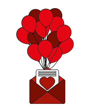 romantic mail letter heart balloons decoration vector illustration Illusztráció