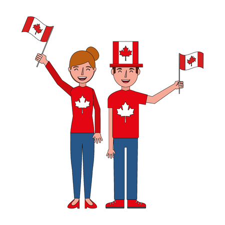 happy couple with canadian flag hat and sweater vector illustration
