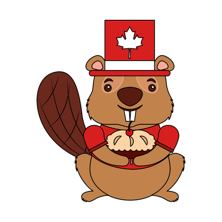cartoon beaver with hat holding cake vector illustration