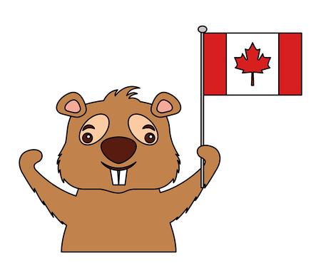 canadian beaver holding canada flag vector illustration